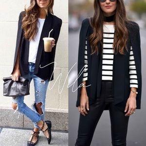 PLUS SIZE Black blazer cape jacket 813485